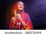 beautiful muslim woman waiting...   Shutterstock . vector #280276394