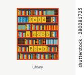 bookshelf with books. library.... | Shutterstock .eps vector #280281725
