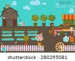 organic farm in flat design | Shutterstock .eps vector #280295081