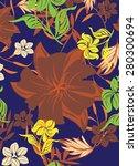 seamples flower pattern  | Shutterstock .eps vector #280300694