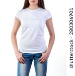 girl in white t shirt mock up... | Shutterstock . vector #280306901