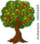 green apple tree full of red... | Shutterstock .eps vector #280316369