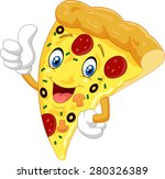 cartoon pizza giving thumb up | Shutterstock . vector #280326389