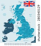 united kingdom map  flag and... | Shutterstock .eps vector #280340129