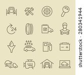 car service line icon set | Shutterstock .eps vector #280341944