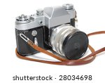 Old Camera Isolated On White...