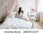 woman in light bedroom enjoying ... | Shutterstock . vector #280351247