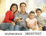 young hispanic family watching... | Shutterstock . vector #280357037