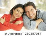 hispanic couple relaxing at... | Shutterstock . vector #280357067