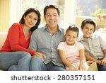 young hispanic family relaxing... | Shutterstock . vector #280357151