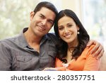 hispanic couple at home | Shutterstock . vector #280357751