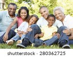 Small photo of Multi Generation African American Family Relaxing In Park