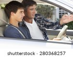 father teaching teenage son to... | Shutterstock . vector #280368257