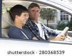 father teaching teenage son to... | Shutterstock . vector #280368539