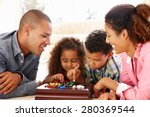 mixed race family playing... | Shutterstock . vector #280369544