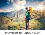 young man traveler with... | Shutterstock . vector #280374104