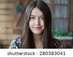 young beautiful girl in flower... | Shutterstock . vector #280383041