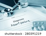 Small photo of Diagnostic form with diagnosis heart failure and pills.