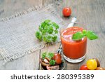 smoothie tomato and basil on a...   Shutterstock . vector #280395389