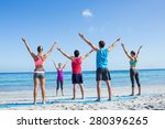 friends stretching together... | Shutterstock . vector #280396265