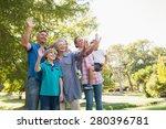 happy family waving hands in... | Shutterstock . vector #280396781