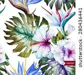 watercolor tropical vector...   Shutterstock .eps vector #280436441