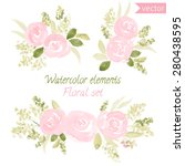 a set of watercolor roses... | Shutterstock .eps vector #280438595