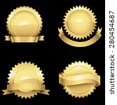 glossy gold seals   set of 4... | Shutterstock .eps vector #280454687