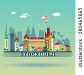 modern stockholm city skyline... | Shutterstock .eps vector #280465865