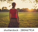 a young woman is standing in a... | Shutterstock . vector #280467914