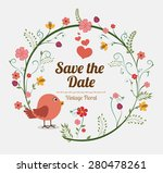 save the date design over white ... | Shutterstock .eps vector #280478261