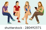 casually dressed teens or young ... | Shutterstock .eps vector #280492571