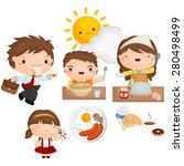 morning breakfast vector set | Shutterstock .eps vector #280498499