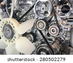 Car engine pulley drive belt  - stock photo