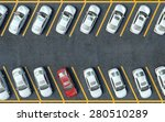 parked red car among the white... | Shutterstock . vector #280510289