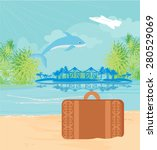 tropical island paradise with... | Shutterstock .eps vector #280529069