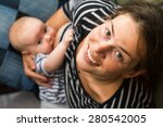 mom and baby breastfeeding   Shutterstock . vector #280542005
