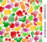 seamless pattern  fruits and... | Shutterstock . vector #280543121