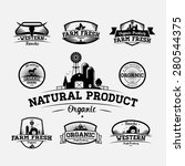 set of fresh organic emblems... | Shutterstock .eps vector #280544375