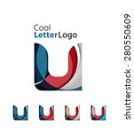 set of abstract u letter... | Shutterstock .eps vector #280550609