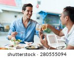 tourist men cheers toast drink  ... | Shutterstock . vector #280555094