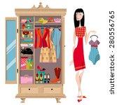 woman standing near an open... | Shutterstock .eps vector #280556765