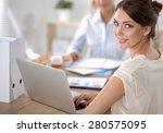 portrait of a businesswoman... | Shutterstock . vector #280575095