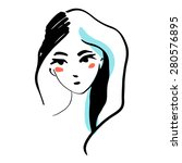 fashion line woman face  | Shutterstock .eps vector #280576895