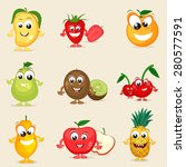 set of nine colorful fruits... | Shutterstock .eps vector #280577591