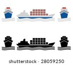 Two Ship Cargo Icons In Colors...
