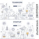 teamwork and startup. doodle... | Shutterstock .eps vector #280595009