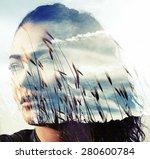 double exposure of girl with... | Shutterstock . vector #280600784