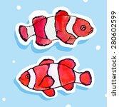 vector watercolor clown fish | Shutterstock .eps vector #280602599