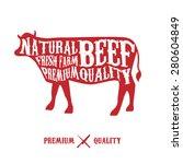 vector beef cuts diagram in... | Shutterstock .eps vector #280604849